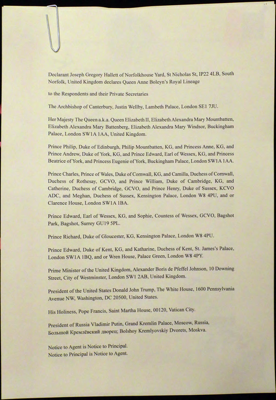 Confirmation of Joseph Gregory Hallett's Declaration of Queen Anne Boleyn's Royal Lineage, 5 March 2020